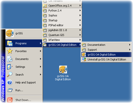 gvSIG Windows menus and icons